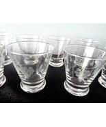 Set of 11 Early Vintage Crystal Set of Etched Grape Vine Glasses - $19.79