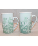 Set of 2 Starbucks 1998 Tazo Tea Coffee Mug Cups No Lid Light Green Lang... - $37.29