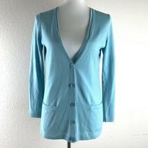 Talbots Petites Womens Blue Pure Italian Merino Wool Cardigan Sweater Si... - $18.81