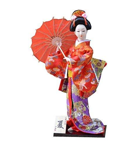 "12"" Japanese Kimono Geisha Porcelain Figurine - Handmade Collection - Random - A"