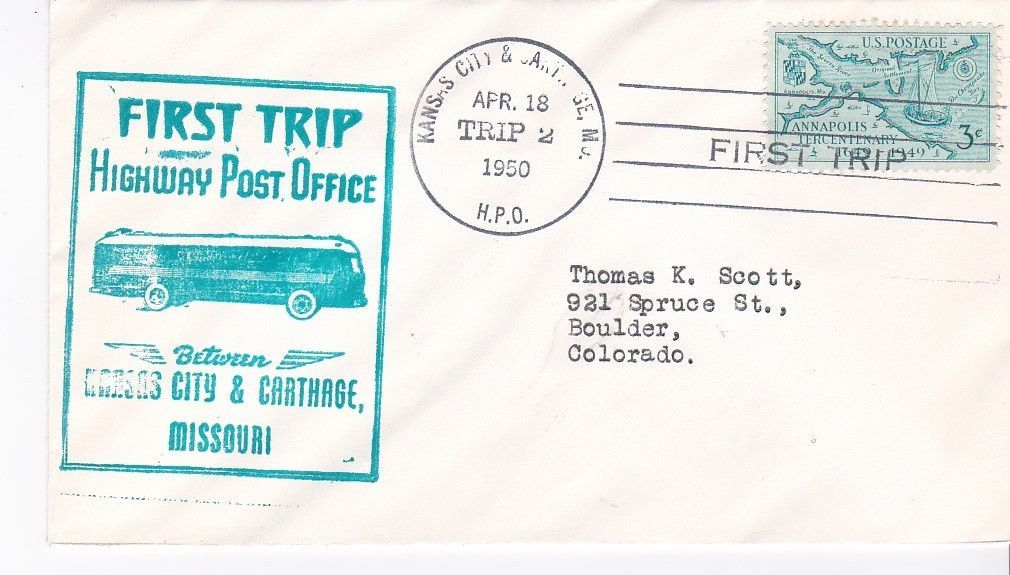 FIRST TRIP H.P.O. KANSAS CITY & CARTHAGE MISSOURI APRIL 18 1950 TRIP 2