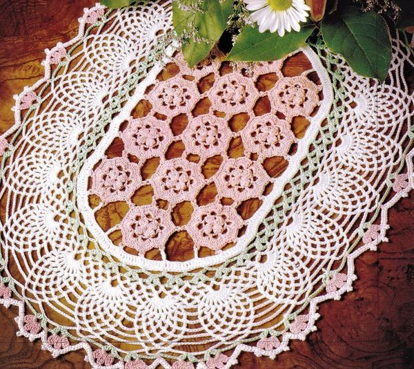 Primary image for Z456 Crochet PATTERN ONLY Exquisite Beauty Pineapple Floral Oval Doily Pattern