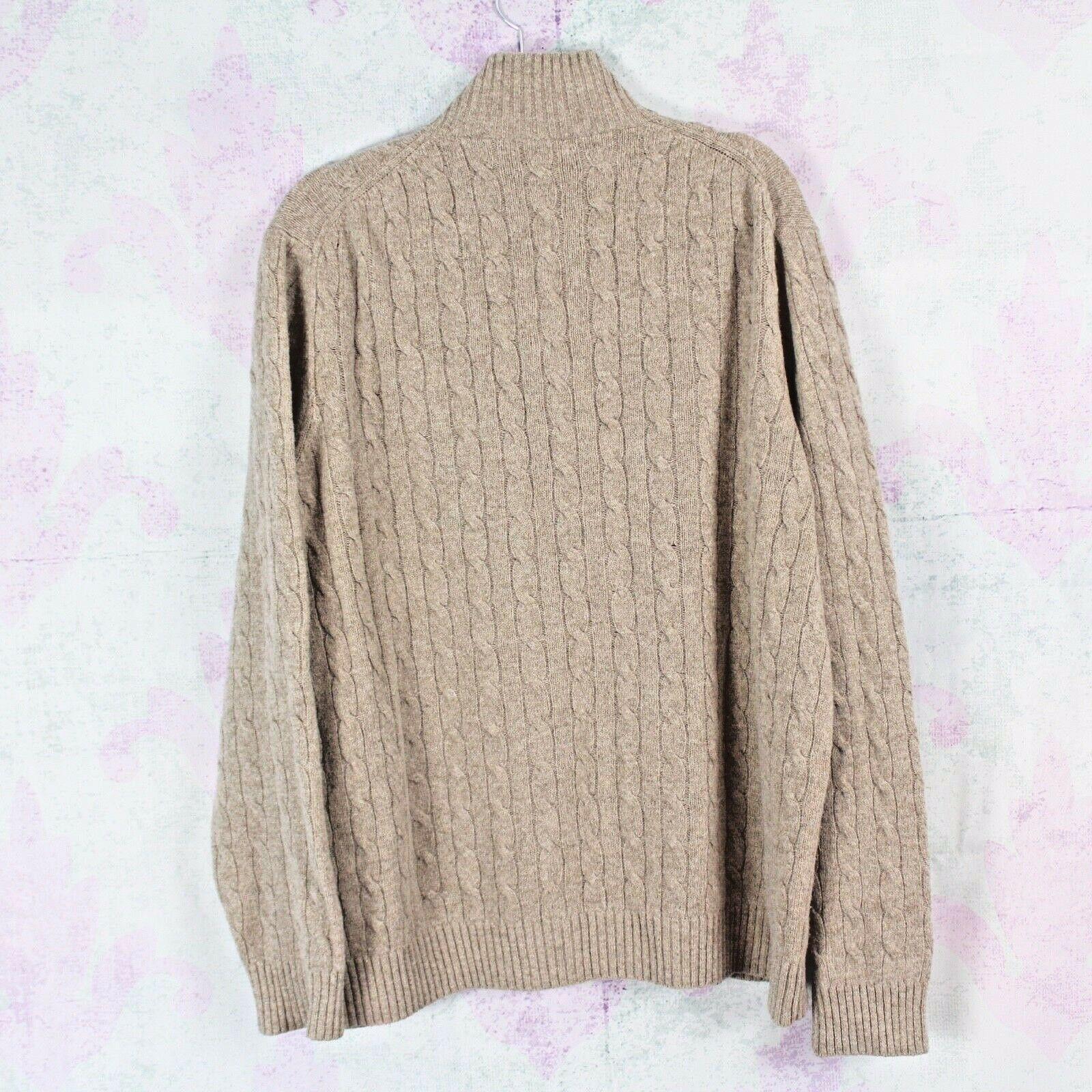 J.Crew Men's XL Beige Tan 100% Lambs Wool 1/2 Zip Cable Knit Pullover Sweater