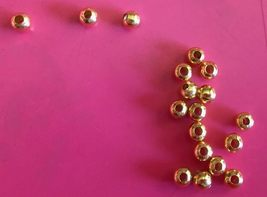 4mm Gold Plate Round Beads, Lot of 25, 1.5mm Ce... - $3.20