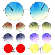 Womens Hippie Retro Groovy Gradient Oversize Circle Lens Round Runway Su... - $13.26 CAD