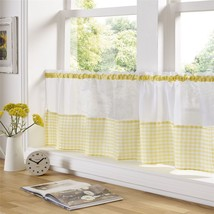 "Yellow And White Gingham 59"" X 24"" – 150CM X 61CM Kitchen Cafe Curtain Panel - $9.26"