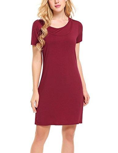 a7602621c9 ... Hotouch Women s Short Sleeve Above Knee Nursing Nightgown Scoop  NeckDark Red ...