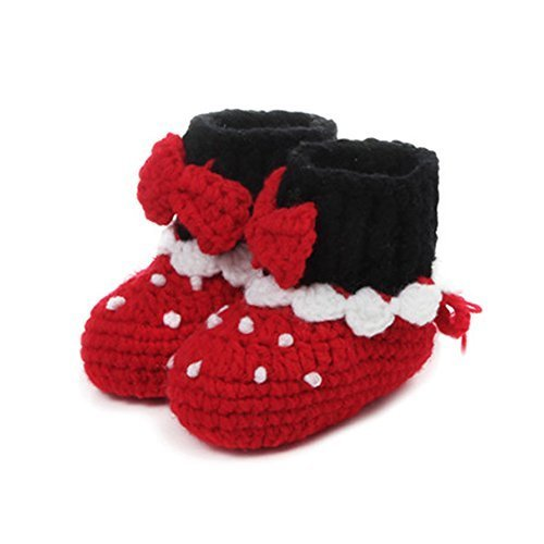Baby Infant Handmade Crochet Shoes Knit Warm Sock Newborn Gift 10-12CM RED