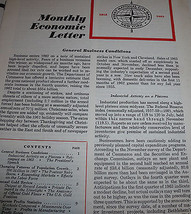 Monthly Economic Letter First National City Bank January 1963 NYC  - $13.98