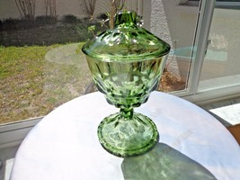 Vintage Hazel Atlas Green Thumbprint Covered Candy Dish - $35.63