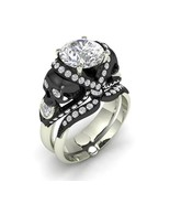 Skull Engagement Ring in Solid Silver and Plati... - $395.00