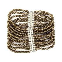Silpada India 925 Signed Sterling Bronze Glass Bead 11 Strand Stretch Br... - $48.49