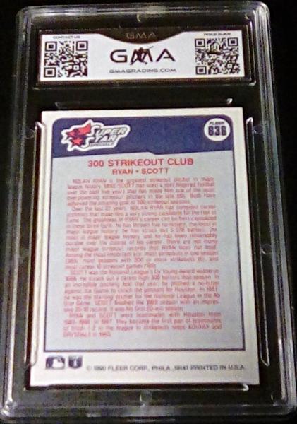 1990 Fleer Nolan Ryan/Mike Scott GMA Graded 7 NM Baseball Card 636