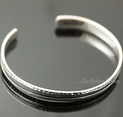 Mens Sterling Silver Bracelet Simple Graved Pattern Bangle Hip Hop Biker b26