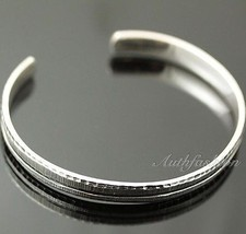 Mens Sterling Silver Bracelet Simple Graved Pattern Bangle Hip Hop Biker... - $93.56