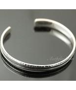 Mens Sterling Silver Bracelet Simple Graved Pattern Bangle Hip Hop Biker... - $93.56