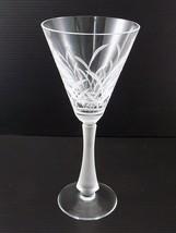 "Beautiful Modern WINE GLASS Frosted Stem Cut Crossed Grass Pattern 8"" Tall - $13.85"