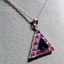 "HSN Technibond Sterling Silver Pink Blue CZ Triangle Pendant Long 30"" Ne... - $26.71"