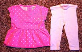 Girl's Size 3 M 0-3 Months 2 Pc Pink Polka Dot Heart Carter's Dress & Le... - $13.50