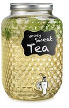 Drink Beverage Dispenser Quality Glass Outdoor Embossed Honeycomb Chalkb... - $29.69