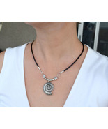 Leather Necklace, Spiral Shell Necklace, Silver Necklace, Celtic Symbol ... - $19.00