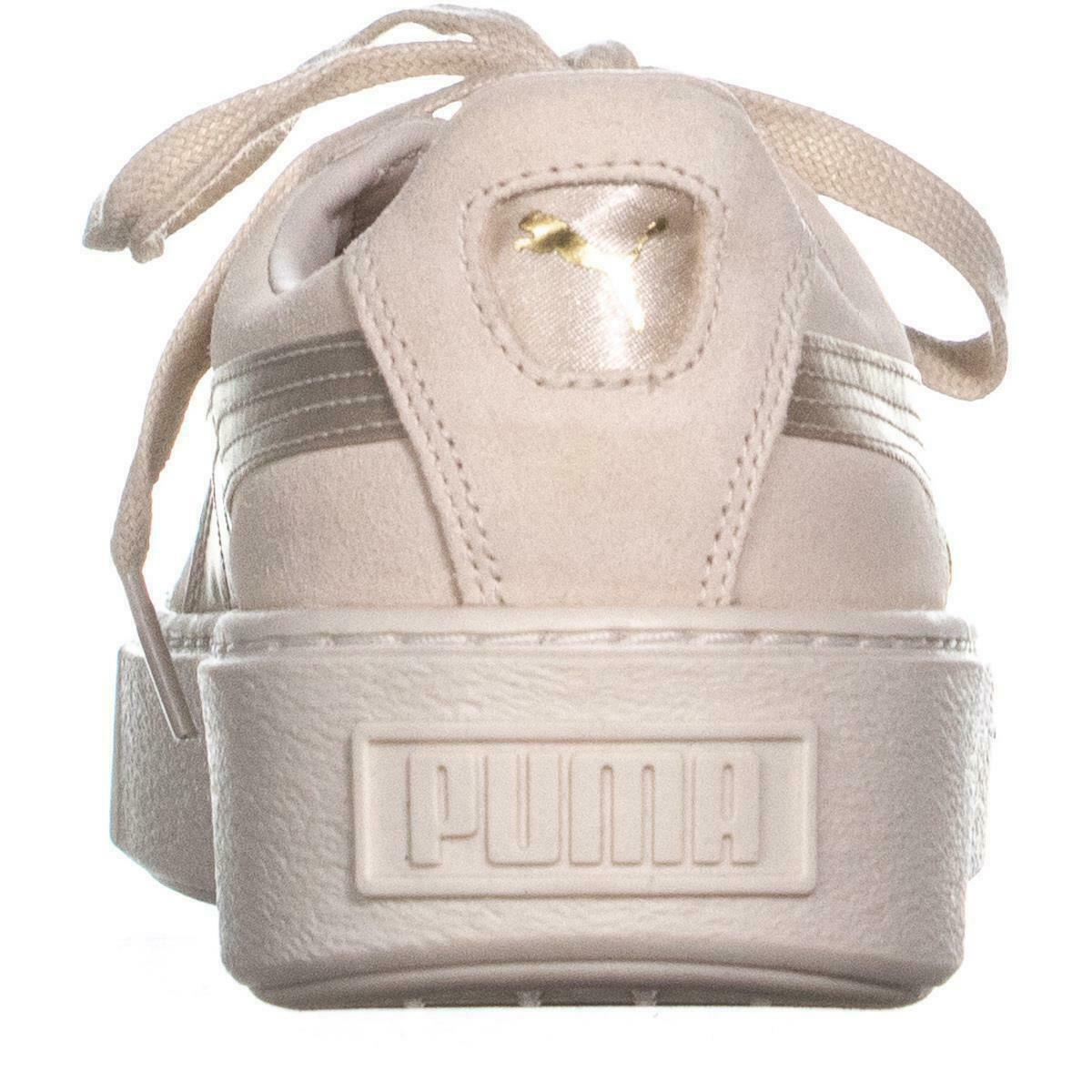 Puma Daim Plateforme Baskets à Lacets,Teinte Rose / Whipser Blanc / or,10 US /