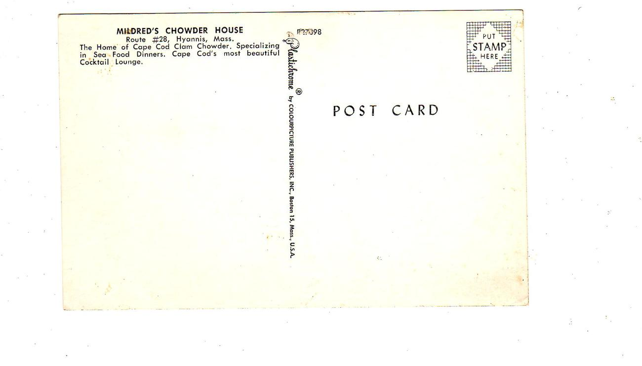 Mildred's Chouder House, Hyannis, Mass. (1950's) 2 postcards