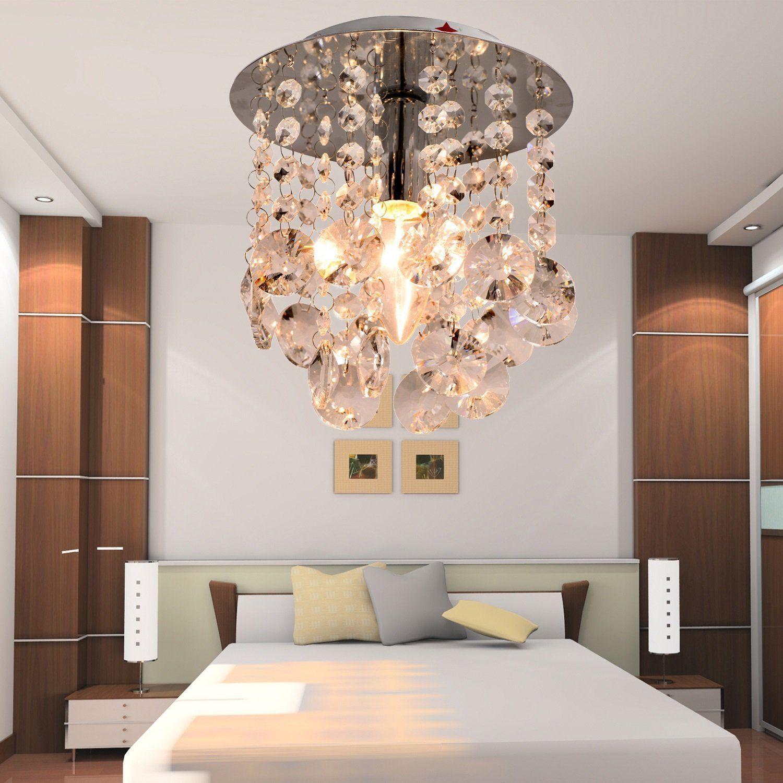 Modern Crystal Ceiling Lamp Luxury Pendant Chandelier Light Fixture LED Chrome - $73.99