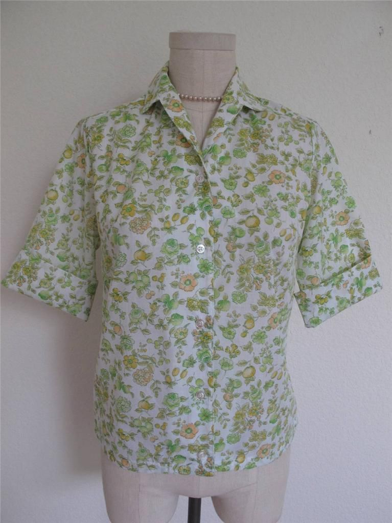Primary image for VTG NOS 60s Short Sleeve Button Down Summer Blouse Shirt Floral Print 32 S XS