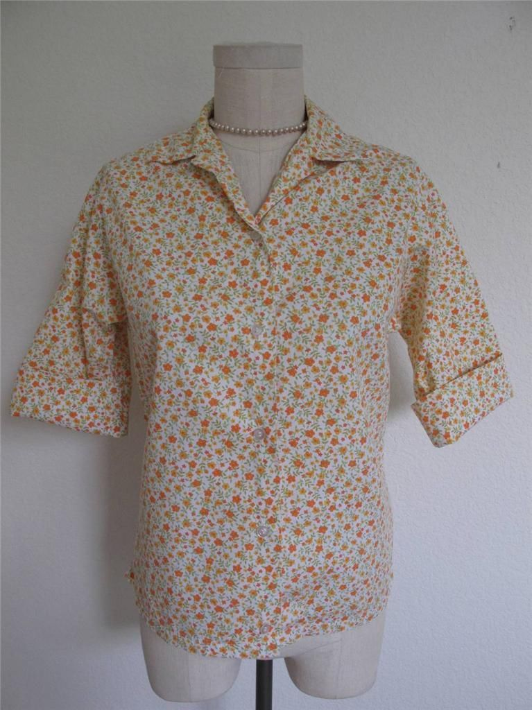 Primary image for VTG NOS 60s Short Sleeve Button Down Summer Blouse Shirt Retro Print 32 S XS
