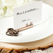 6 Vintage Inspired Skeleton Key Place Card & Photo Holders Wedding Favor Unique - $11.58