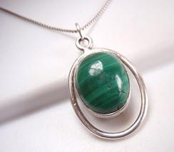 Green MALACHITE 925 Sterling Silver Necklace Corona Sun Jewelry h16t - €13,32 EUR