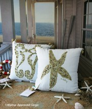 Pottery Barn Lilly Pulitzer Starfish & Seahorse Embroidered Pillows (2) – Nwt - $119.95