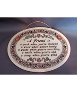 """Genuine Trinity Pottery : """"A Friend Is """" ~ Oval """"Wall  Plaque"""" - $6.49"""