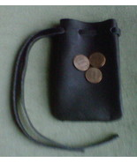 Leather pouch, handmade, black - $5.20