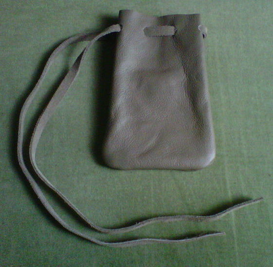 Primary image for Leather pouch, grey