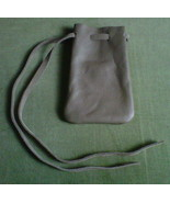 Leather pouch, grey - $5.20