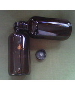 Amber glass round bottle with black cap & dropper - 8 oz. - $12.50