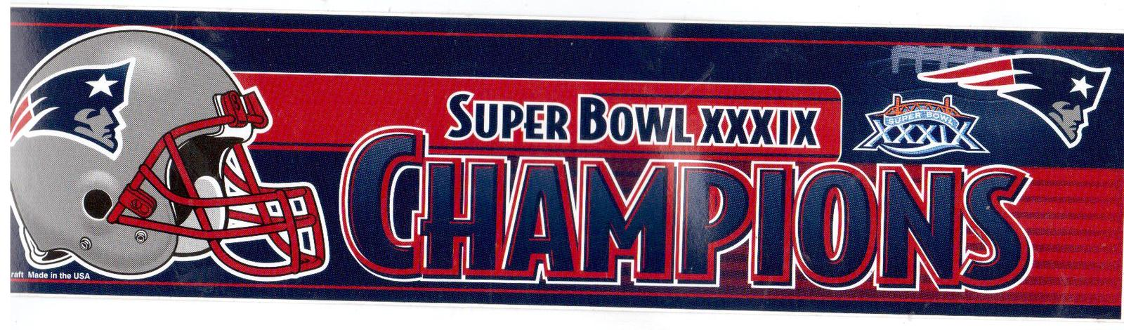 Primary image for New England Patriots SB 39 Champions:Vintage 3X12 Vinyl Foottball Sticker