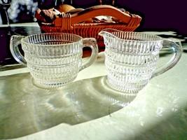 Hazel Atlas Beehive Glass Pattern Sugar Bowl & Creamer Set - $9.90