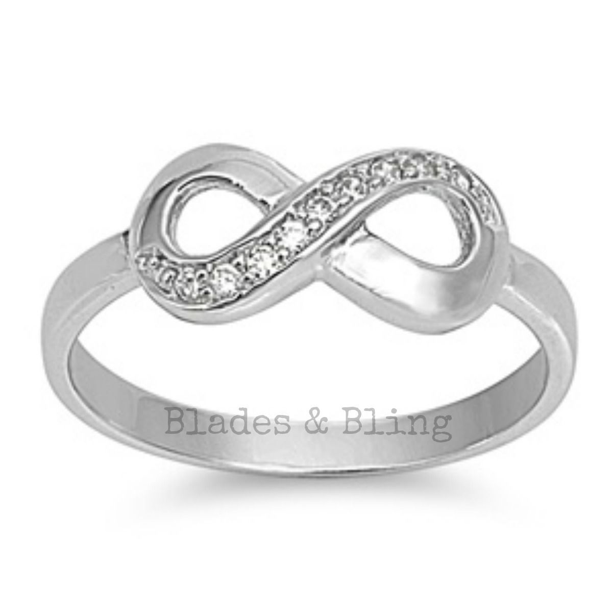 Primary image for Sterling Silver ring size 4 CZ Infinity Eternity Round cut Love Knot New 925 r76