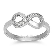 Sterling Silver ring size 4 CZ Infinity Eternity Round cut Love Knot New 925 r76 - $12.49