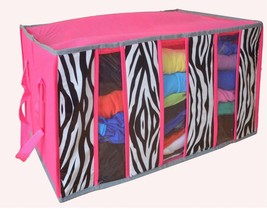 Collapsible Seat Storage 3 Removable Parts Bedroom Decor Pink Zebra Spac... - $38.55