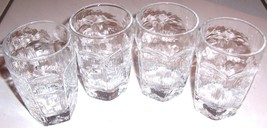 (4) VINTAGE MINI LIBBEY HEXAGON PRESSED CLEAR G... - $34.00