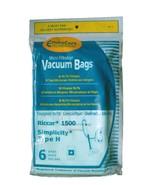 ENVIROCARE RICCAR 1500 SIMPLICITY TYPE H 6 BAGS IN A PACK VACUUM CLEANER - $8.50