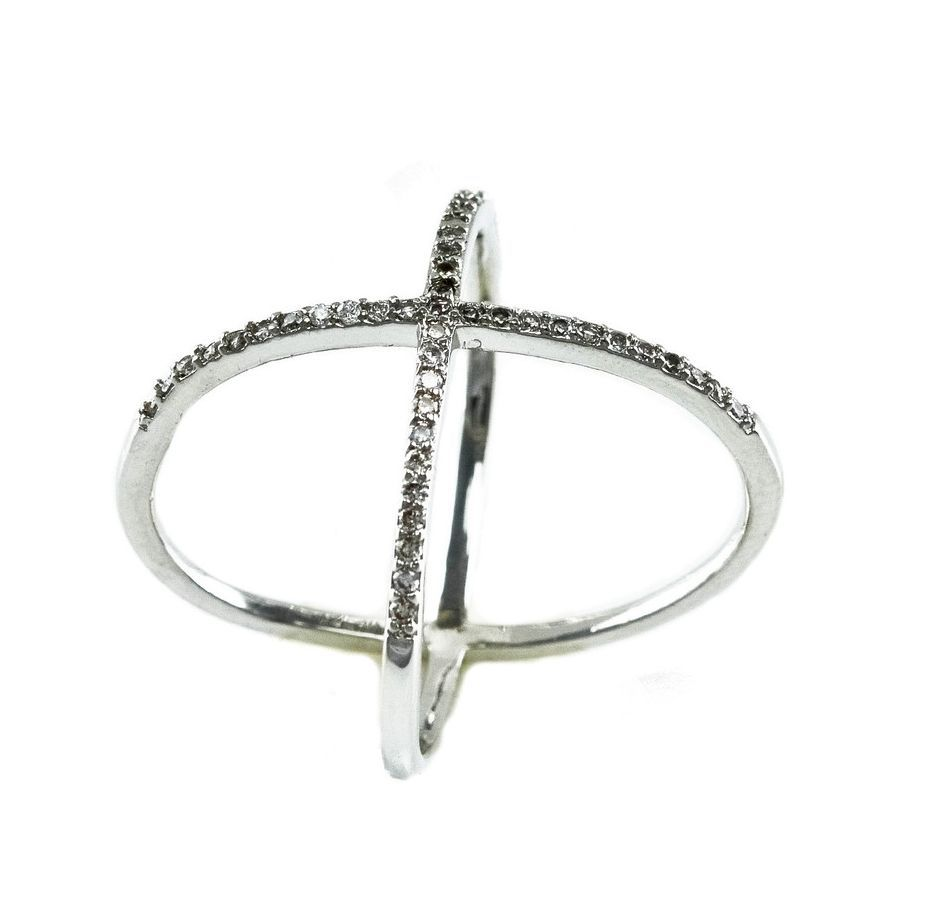 Pave Clear Cubic Zirconia Open X Ring-Rhodium Plated