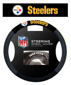 PITTSBURGH STEELERS MESH SUEDE CAR STEERING WHEEL COVER