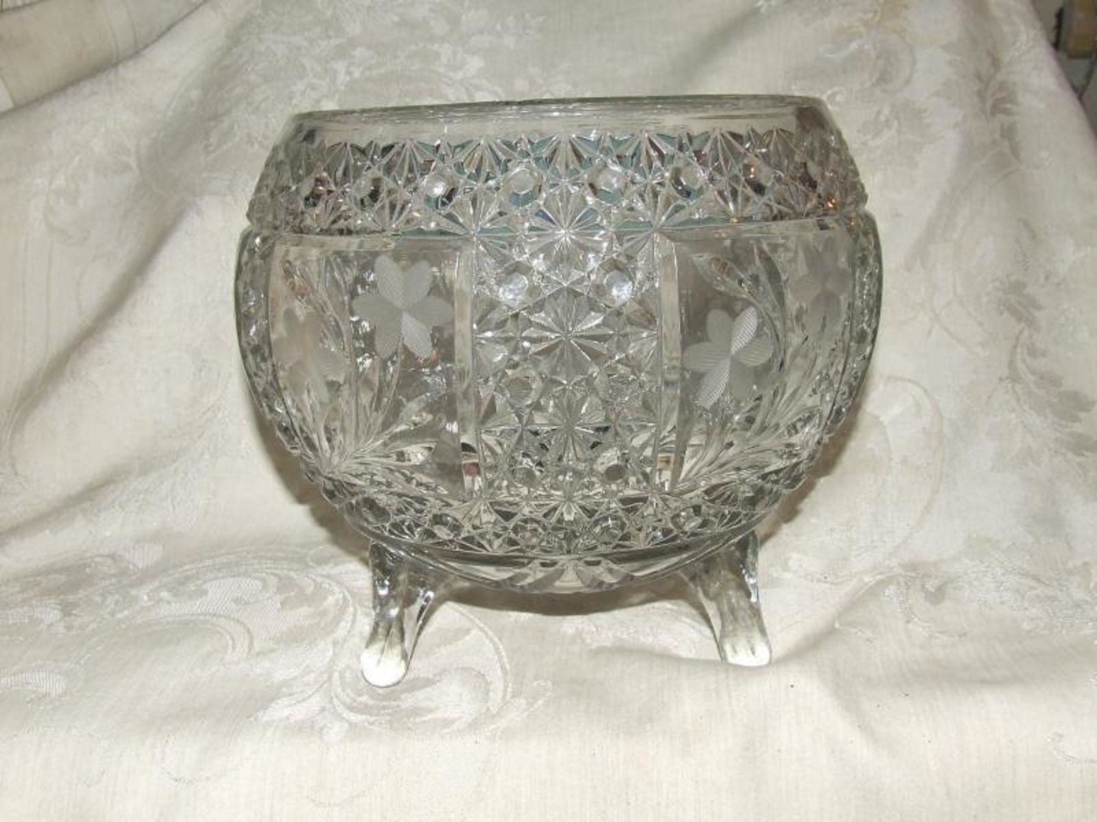 Primary image for McKee Glass SNAPPY Clear Cane Daisy Button ROSE BOWL 3 Toes 4 Floral Etch Panels