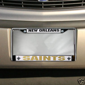 NEW ORLEANS SAINTS CAR CHROME METAL LICENSE PLATE FRAME NFL FOOTBALL