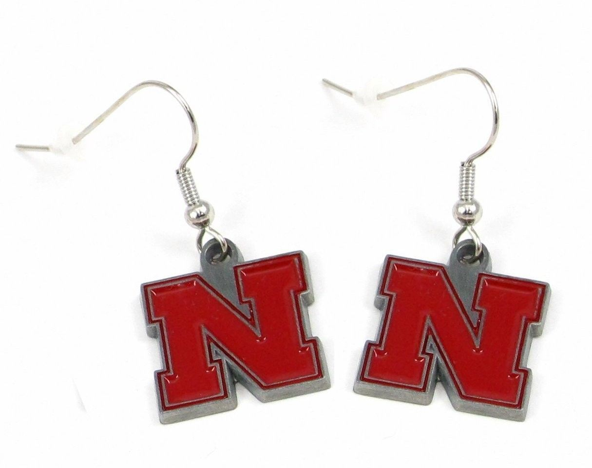 NEBRASKA HUSKERS PAIR DANGLE EARRINGS TEAM LOGO PARTY TAILGATE NCAA